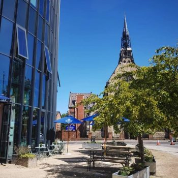 Outdoor space of cafe bar to rent in Liverpool's Baltic Triangle